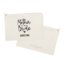 Load image into Gallery viewer, Personalized Mother of the Bride Cotton Canvas Cosmetic Bag