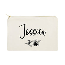 Load image into Gallery viewer, Personalized Name Black and White Floral Cosmetic Bag and Travel Make Up Pouch