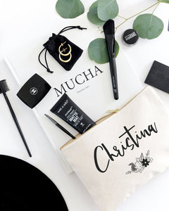 Personalized Name Black and White Floral Cosmetic Bag and Travel Make Up Pouch