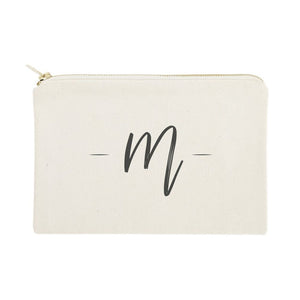 Personalized Handwritten Monogram Cosmetic Bag and Travel Make Up Pouch
