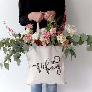 Wifey Wedding Cotton Canvas Tote Bag