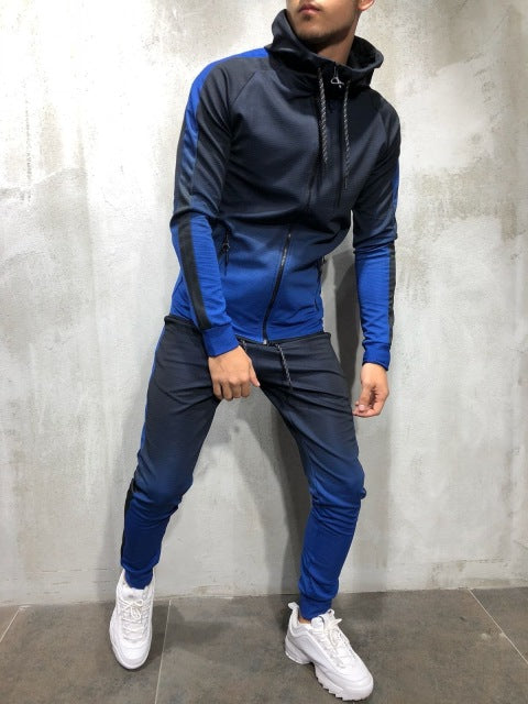 ZOGAA 2019 Brand New Men Tracksuit 2 Piece Set 3D Gradient Color Casual Hoodies Sweatshirt and Pants Sportswear Joggers Men Sets - Starttech Online Market