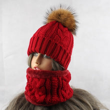 Load image into Gallery viewer, 2019 Womens Hats With Scarf Warm Fleece Inside Beanie Girls Winter Cap For Women Real Mink Fur Pompom Hat Female Knitted Caps - Starttech Online Market
