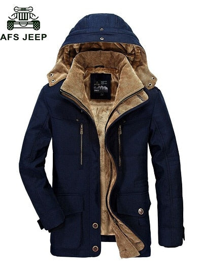AFS JEEP High Quality Thickening Brand Winter Coat Military Cotton-Padded Jacket Men New Fashion Warm Fleece With Fur Parka men - Starttech Online Market