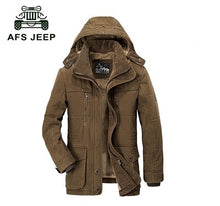 Load image into Gallery viewer, AFS JEEP High Quality Thickening Brand Winter Coat Military Cotton-Padded Jacket Men New Fashion Warm Fleece With Fur Parka men - Starttech Online Market
