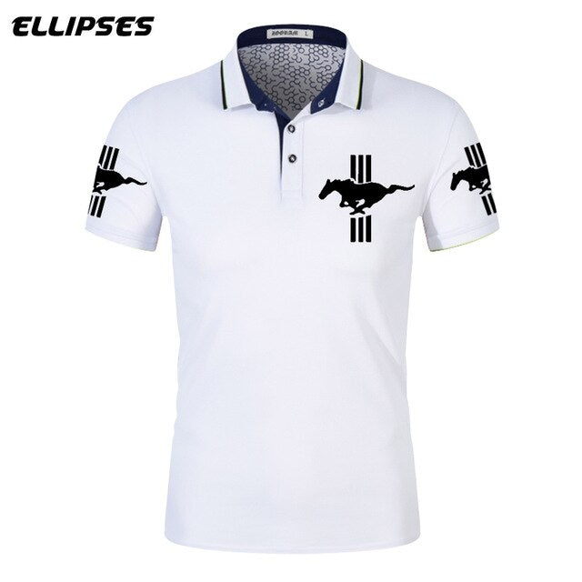 Mustang Polo Shirt for Man Summer Mustang Logo Polo Shirt Short Sleeve Male Cotton Turn-down Collar Tops Polo Shirt Men - Starttech Online Market