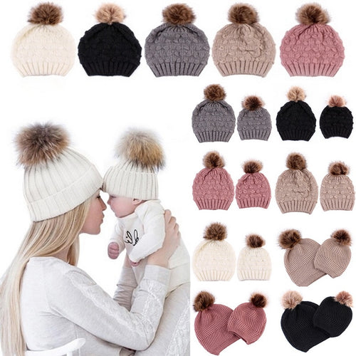 5 Colors Parent-child Caps with Pompon Warm Raccoon Fur Bobble Mommy Beanie Caps Kids Cotton Knitted Mom Baby Hat Winter Caps - Starttech Online Market