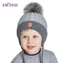 Load image into Gallery viewer, ENJOYFUR Winter baby Hats Real Fox Fur Pompom Hat Knitted Boy Cap Cotton Protect The Ears Hat Warm Thick Kids Beanies - Starttech Online Market