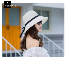 Load image into Gallery viewer, Summer Wide Big Brim  floppy Straw Hats Sun Hats For Women  UV Protection Panama Beach Hats Ladies bow  hat chapeau femme ete - Starttech Online Market