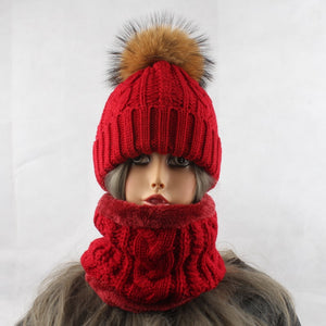 2019 Womens Hats With Scarf Warm Fleece Inside Beanie Girls Winter Cap For Women Real Mink Fur Pompom Hat Female Knitted Caps - Starttech Online Market