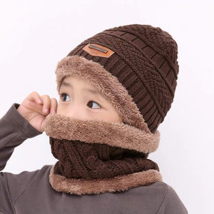 Children's hat wool and fleece baby autumn and winter ear protection warm hat scarf two sets of men and girls scarf fashion - Starttech Online Market