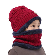 Load image into Gallery viewer, Children's hat wool and fleece baby autumn and winter ear protection warm hat scarf two sets of men and girls scarf fashion - Starttech Online Market