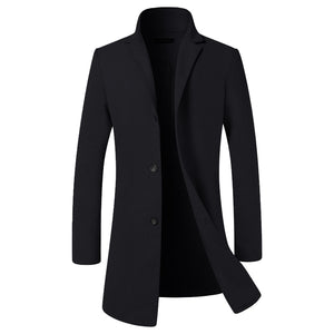 British Style Men's Long Jackets Coats Classic Jackets Trench Winter Clothes Solid Slim Fit Gentleman Outwear Hombre Masculino - Starttech Online Market