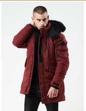 Load image into Gallery viewer, 2019 Long Parka Men Thick Cotton Padded Down Warm Cold Coat Male Designer China Red Black Autumn Fur Hooded Winter Jacket Men - Starttech Online Market