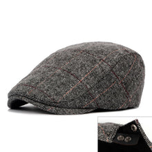 Load image into Gallery viewer, Herringbone Berets Caps For Men Casual Peaked Cap Berets British Retro Flat Ivy Cap Adjustable Tweed Gatsby Bone - Starttech Online Market