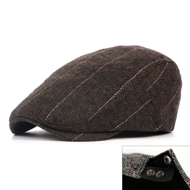 Herringbone Berets Caps For Men Casual Peaked Cap Berets British Retro Flat Ivy Cap Adjustable Tweed Gatsby Bone - Starttech Online Market