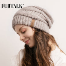 Load image into Gallery viewer, FURTALK Slouchy Beanie Winter Hat for Women Knitted Warm Fleece Lining Hat for Female Skullies Beanies Red Yellow Black Grey Cap - Starttech Online Market