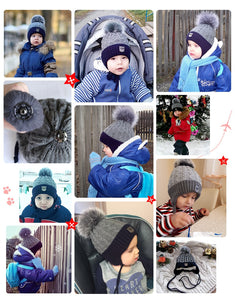 ENJOYFUR Winter baby Hats Real Fox Fur Pompom Hat Knitted Boy Cap Cotton Protect The Ears Hat Warm Thick Kids Beanies - Starttech Online Market