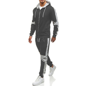 2019 spring new hooded sweater suit men's casual suit outdoor sports suit men's color matching sportswear - Starttech Online Market
