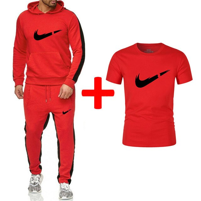 Fashion New Arrival Sporting Suit Men Hoodies Sportswear Casual Sweatshirt+Sweatpants+tees 3 Pieces Sets Tracksuit Men Suits Set - Starttech Online Market