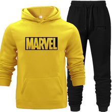 Load image into Gallery viewer, Hoodies Suit Yellow Men's Hooded Sweat Wear Sets with Pocket Warm Fleece Spring Autumn Street Hip-hop Lover's Match Sports Wear - Starttech Online Market