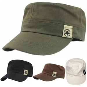 NEW Fashion Mens Hat Unisex Women Men Flat Roof Military Hat Cadet Patrol Bush Hat Baseball Field Cap Snapback Casual Caps@ - Starttech Online Market