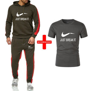 Men Sets Hoodies Sportswear Tops and Pants+Tshirts sets men track suits 2019 Casual Solid 3 piece Suit Sweat suit male clothes - Starttech Online Market