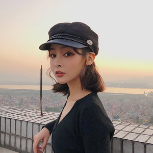 Fashion Lace cotton hat cap women Casual streetwear rope flat cap Elegant solid spring and autumn warm beret hat female - Starttech Online Market