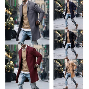 Mens Wool Jackets Winter Men's High-quality Wool Coat Casual Slim Collar Wool Coat Men's Long Cotton Collar Trench Coat - Starttech Online Market