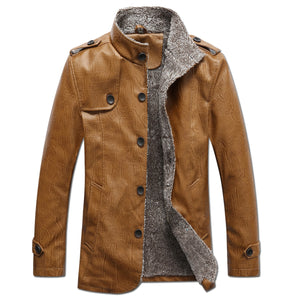 Men's Jacket Autumn Fashion Overcoat Stand Collar Slim Casual Leather Jacket Winter Men's Faux Fur Coats Pu Leather Jackets - Starttech Online Market