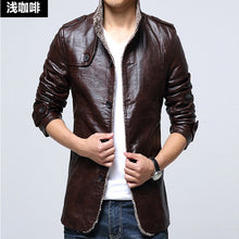 Load image into Gallery viewer, Men's Jacket Autumn Fashion Overcoat Stand Collar Slim Casual Leather Jacket Winter Men's Faux Fur Coats Pu Leather Jackets - Starttech Online Market