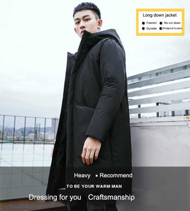 Men's Long Winter Down Jacket Cotton Padded Thick Cold Protection - Starttech Online Market