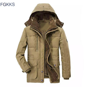 FGKKS Men Winter Parka Coat New Solid Color High Quality Men Hooded Coat Jackets Men's Warm Thick Casual Parka - Starttech Online Market