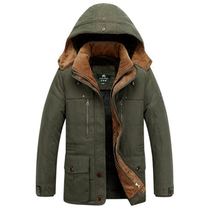 New Men Winter Jackets and Coats High Quality Thick Fleece Cotton Padded Hooded Fashion Casual Coat Khaki Military Coat 4XL - Starttech Online Market