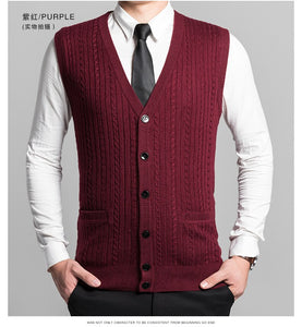 Man Retro Sweater Vest Red Gray V-neck Single Breasted Knitted Waistcoat Male Sleeveless Jacquard Knitwear Autumn Spring Gilet - Starttech Online Market
