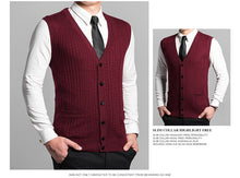 Load image into Gallery viewer, Man Retro Sweater Vest Red Gray V-neck Single Breasted Knitted Waistcoat Male Sleeveless Jacquard Knitwear Autumn Spring Gilet - Starttech Online Market