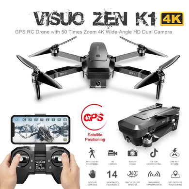 Visuo ZEN K1 GPS RC Drone with 4K HD Dual Camera Gesture Control 5G Wifi FPV Brushless Motor Flight 28mins