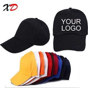 Custom baseball cap print logo text photo embroidery gorra casual solid hats pure color black cap Snapback caps for men women - Starttech Online Market