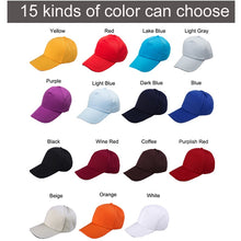 Load image into Gallery viewer, Custom baseball cap print logo text photo embroidery gorra casual solid hats pure color black cap Snapback caps for men women - Starttech Online Market