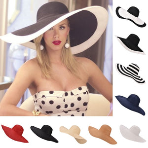 Huge Brim Sun Hats 7.1''/18cm Paper Straw Summer Hats for Womens Ladies UV Protect Floppy Beach Hats Kentucky Derby Party Dress - Starttech Online Market