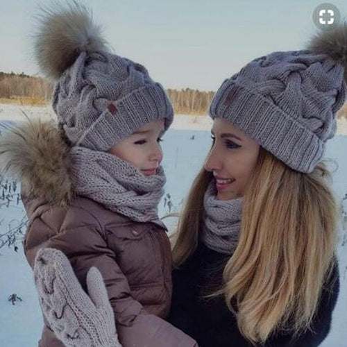 2Pcs Mom Baby Fur Pompom Hats Warm Winter Crochet Knit Wool Solid Color Beanie Caps For Women Boys Girls Matching Hats - Starttech Online Market