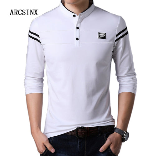 ARCSINX White Polo Shirt Men Long Sleeve High Quality Brand Polo Men Spring Autumn Casual Cotton Big Size Men's Polos Slim Fit - Starttech Online Market