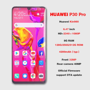 Global ROM HUAWEI P30 Pro Dual Sim 8GB 512GB Full Screen Mobile Phone NFC Smartphone Octa Core Android Bar FHD+ Kirin 980 5 Cameras - Starttech Online Market
