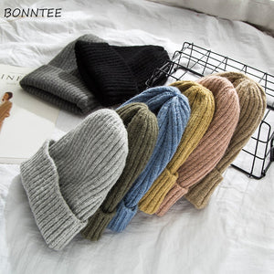 Beanies Women 2019 New Solid Knitted Warm Soft Trendy Hats Simple Korean Style Womens Wool Casual Caps Elegant All-match Beanie - Starttech Online Market