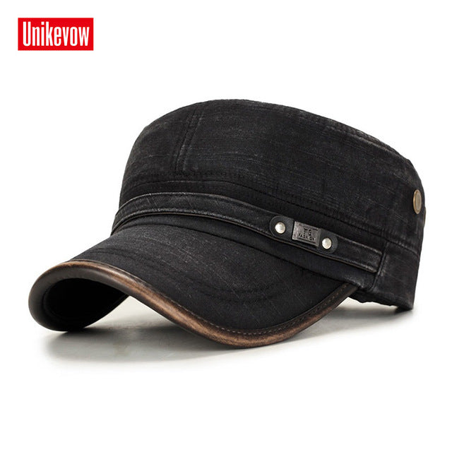 UNIKEVOW Military cap 100% cotton flat top Hat for men Vintage Army Hat Cadet Military Patrol Cap outdoor cap with Pu visor - Starttech Online Market