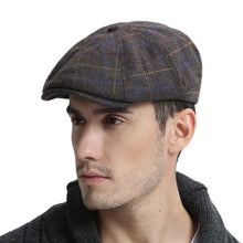 Load image into Gallery viewer, VOBOOM Wool Tweed Newsboy Cap Mens Women Warm Flat Cap Large Check Driver Cabbie Hat Autumn Winter Beret Hats 188 - Starttech Online Market