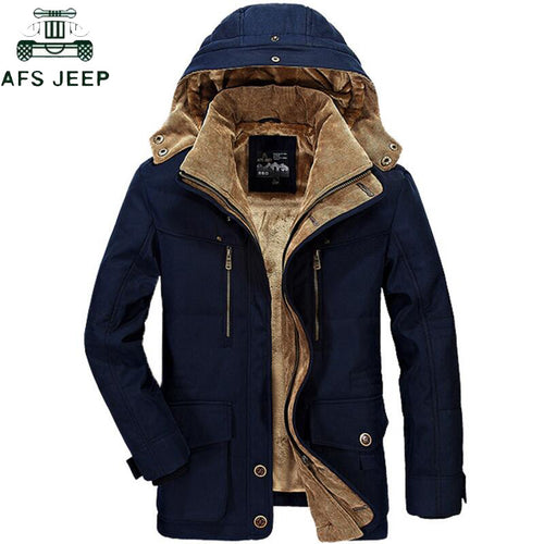 AFS JEEP Brand Thickening Hooded Winter Parkas men Plus Size 5XL 6XL Military Warm Fleece With Fur Parka Men Winter Jacket Men - Starttech Online Market