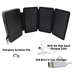 Tough Light 3 Panel USB Solar Power Bank Charger - 20,000mAh Li Polymer with WIRELESS Phone Charging - 2AMP High Speed Cable Included