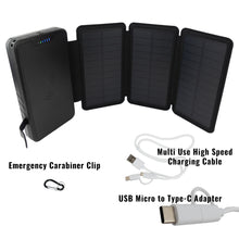 Load image into Gallery viewer, [ Bulk Pack of 10 ] Tough Light 820W 3 Panel USB Solar Power Bank Charger - 20,000mAh Li Polymer with WIRELESS Phone Charging - 2AMP High Speed Cable Included