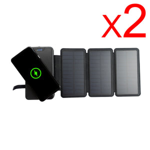 [ Pack of 2 ] Tough Light 820W 3 Panel USB Solar Power Bank Charger - 20,000mAh Li Polymer with WIRELESS Phone Charging - 2AMP High Speed Cable Included